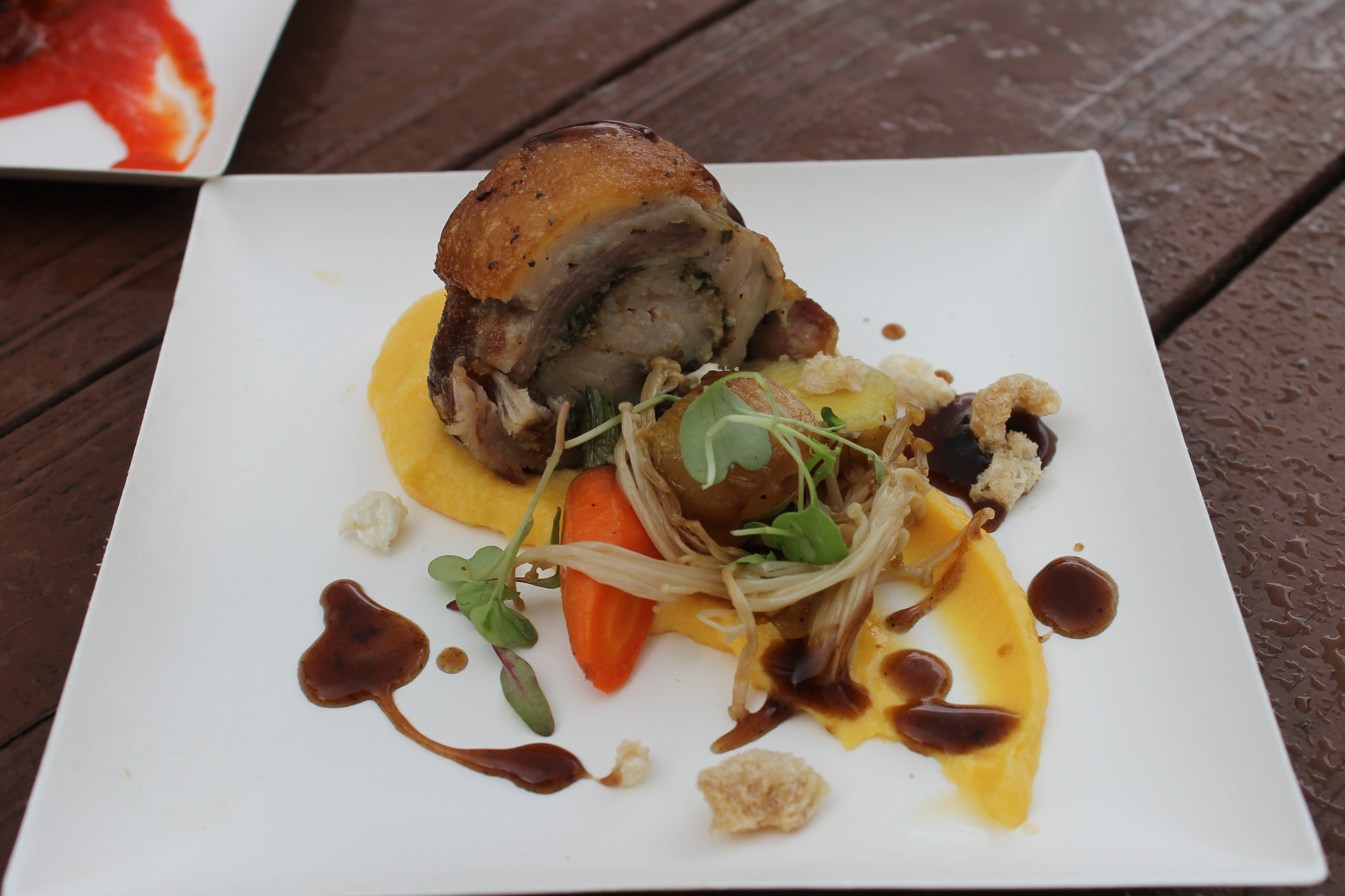 Roasted Pork Roulade with Butternut Squash Purée, Marble Potatoes and Baby Carrots with a Red Wine Sauce featuring Melissa's Produce $6.75