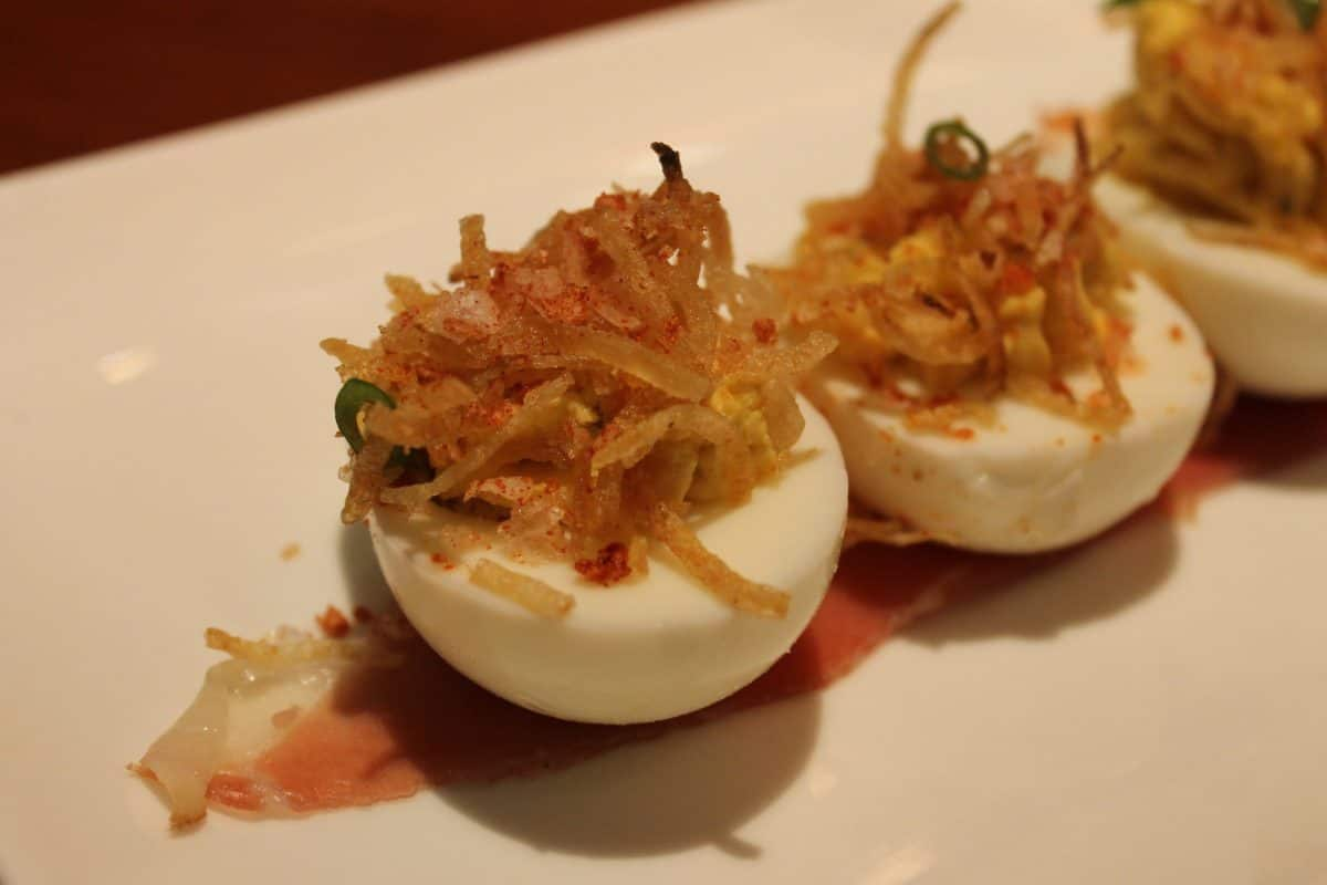 Deviled Eggs - Smoked Prosciutto, Crisp Potatoes - $12.00