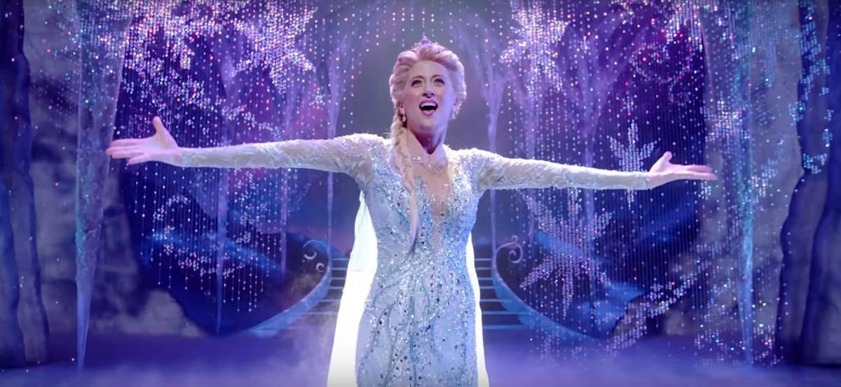 Caissie Levy as Elsa in Frozen the Broadway Musical (screencapture from trailer).