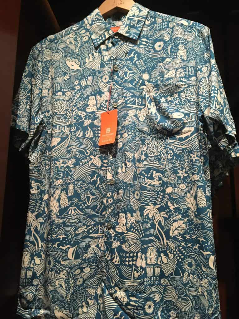 A Tori Richard men's shirt with an Aulani-exclusive print, sold at Hale Manu