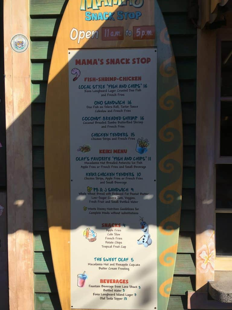 The menu for Mama's Snack Stop at the Aulani