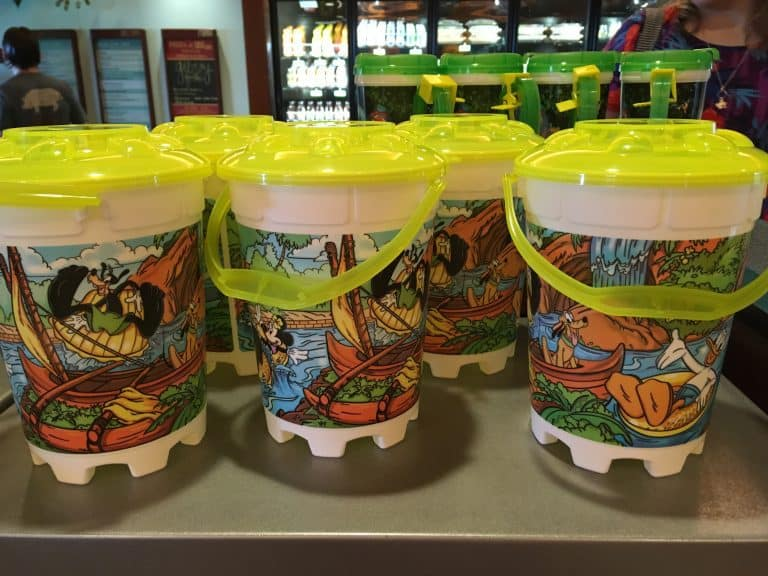 The refillable popcorn buckets found at Ulu Café at the Aulani