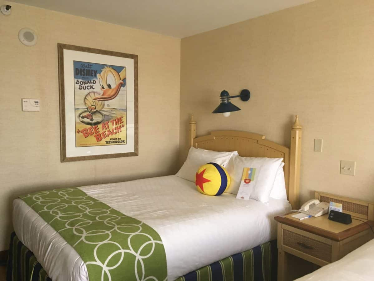 The Luxo Ball pillow found on the beds in rooms for Disney's Paradise Pier Hotel's PIXAR Fest overlay