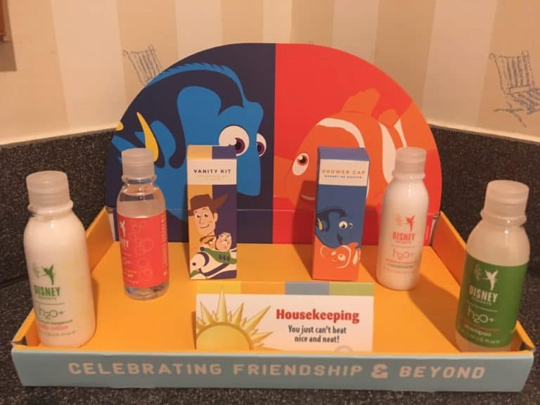 The special bathroom amenities available during Disney's Paradise Pier Hotel's PIXAR Fest overlay