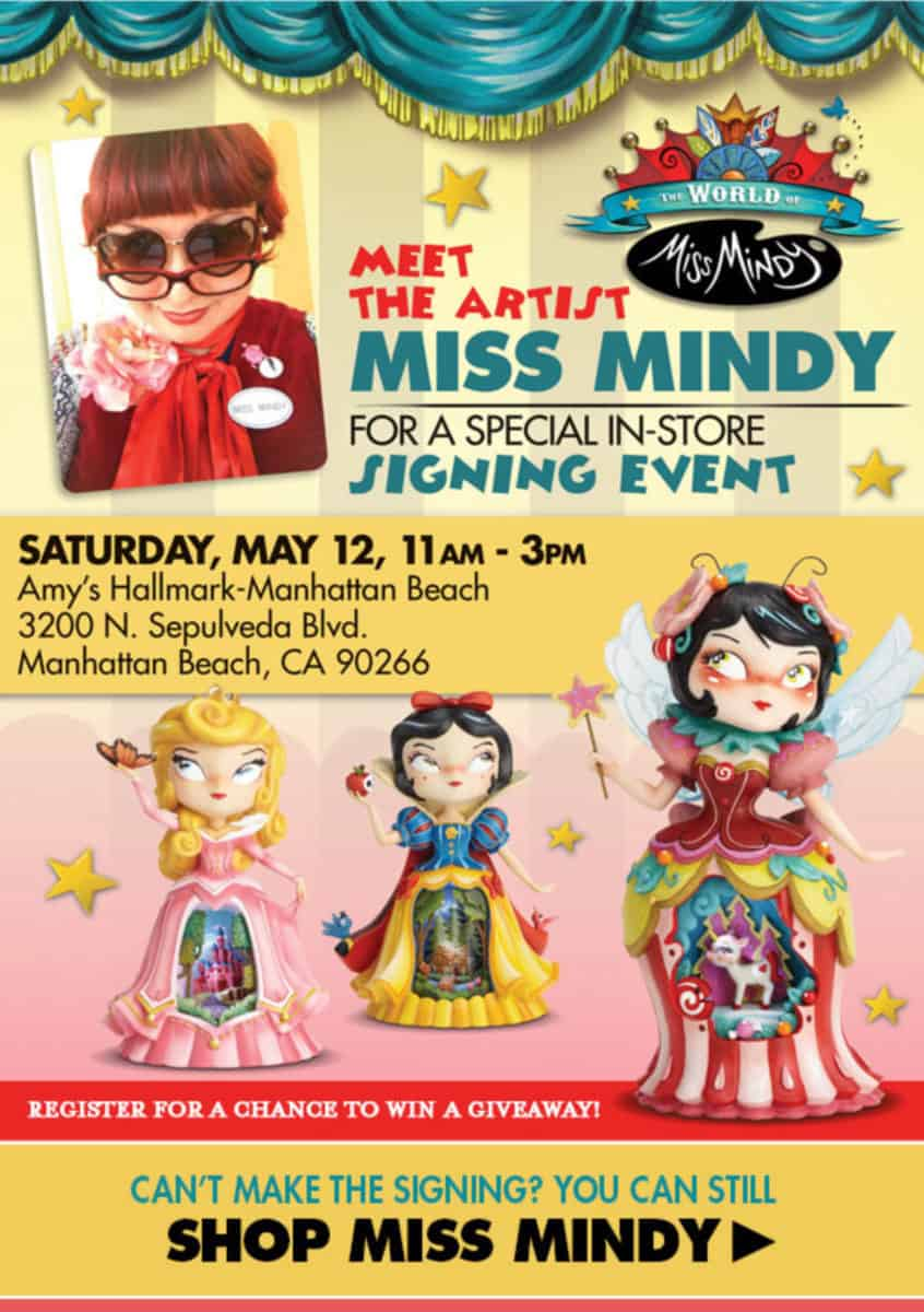 Miss Mindy, previously featured at Downtown Disney's Wonderground Gallery, is holding a special signing event on May 12, 2018 in Manhattan Beach, California