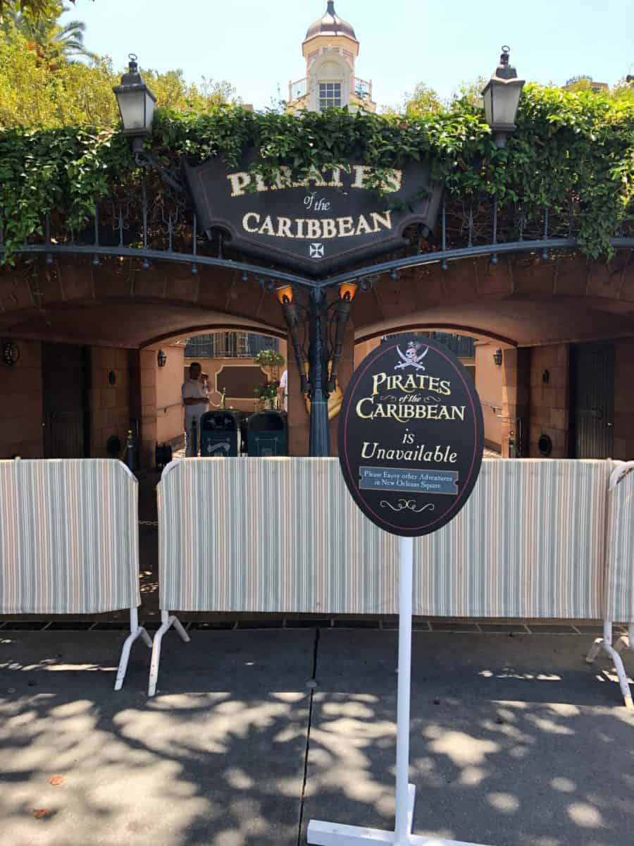 Pirates of the Caribbean in Disneyland is currently unavailable as they redo the auction scene, as seen on May 10, 2018