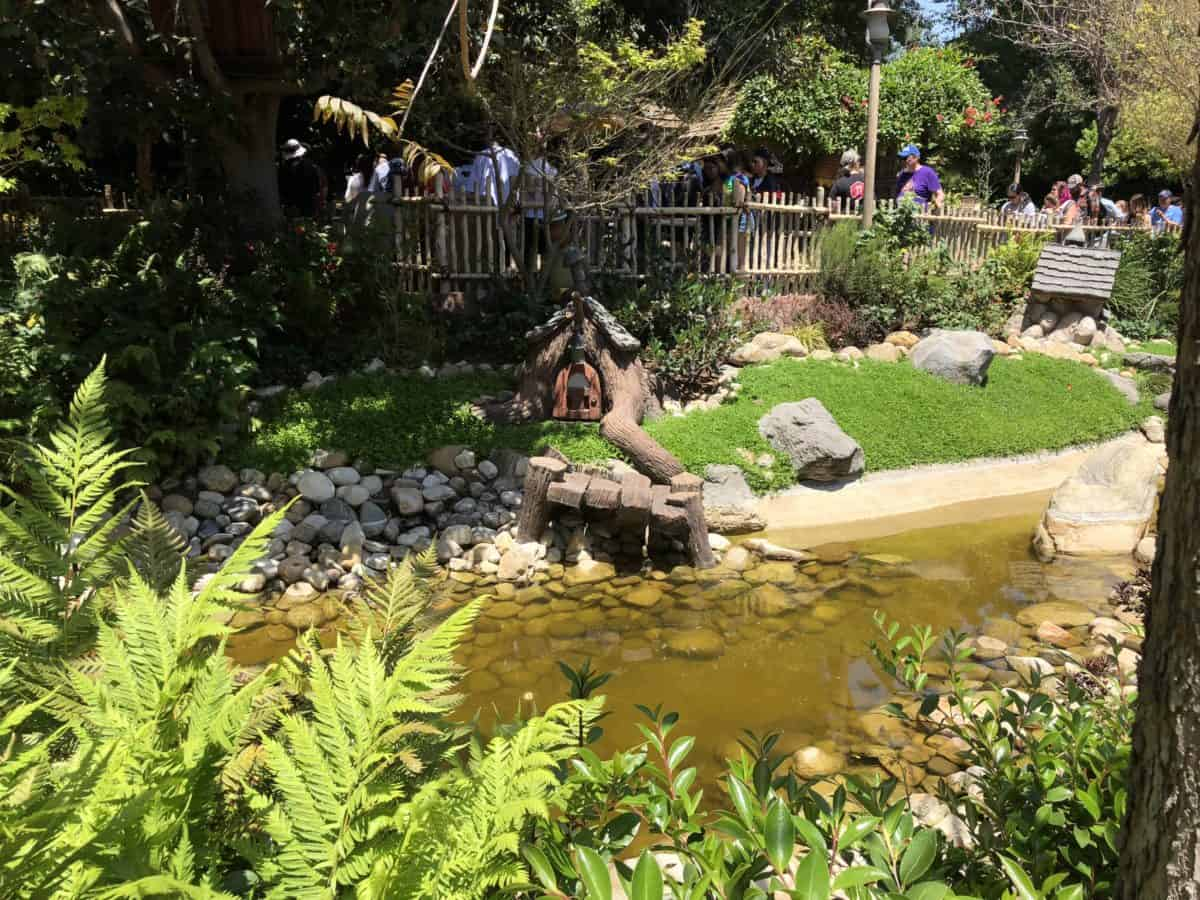The riverbed in Critter Country, here shown from the side of The Many Adventures of Winnie the Pooh, is now dry or very low at different parts, as seen on May 10, 2018