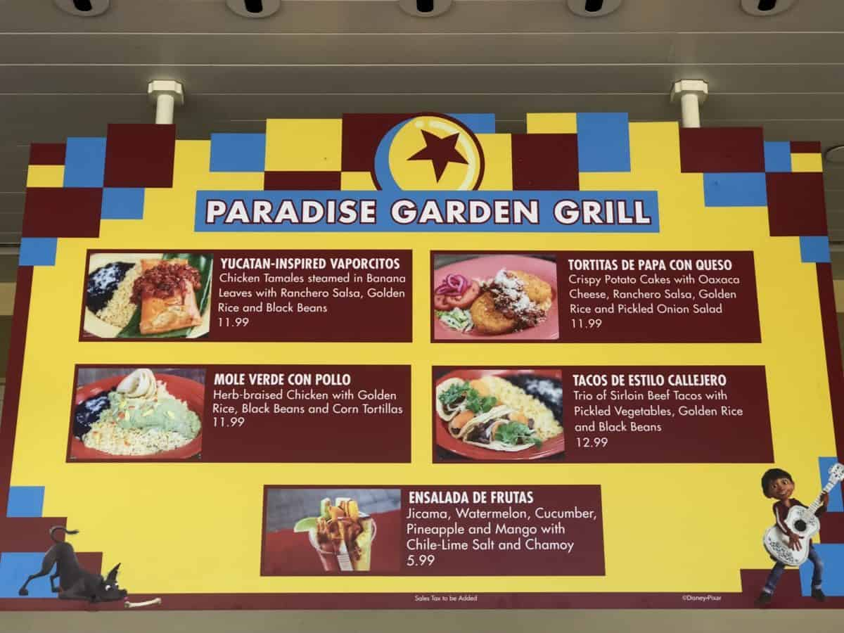 The first menu screen for the PIXAR Fest menu at the Paradise Garden Grill in Disney California Adventure, as seen on May 10, 2017