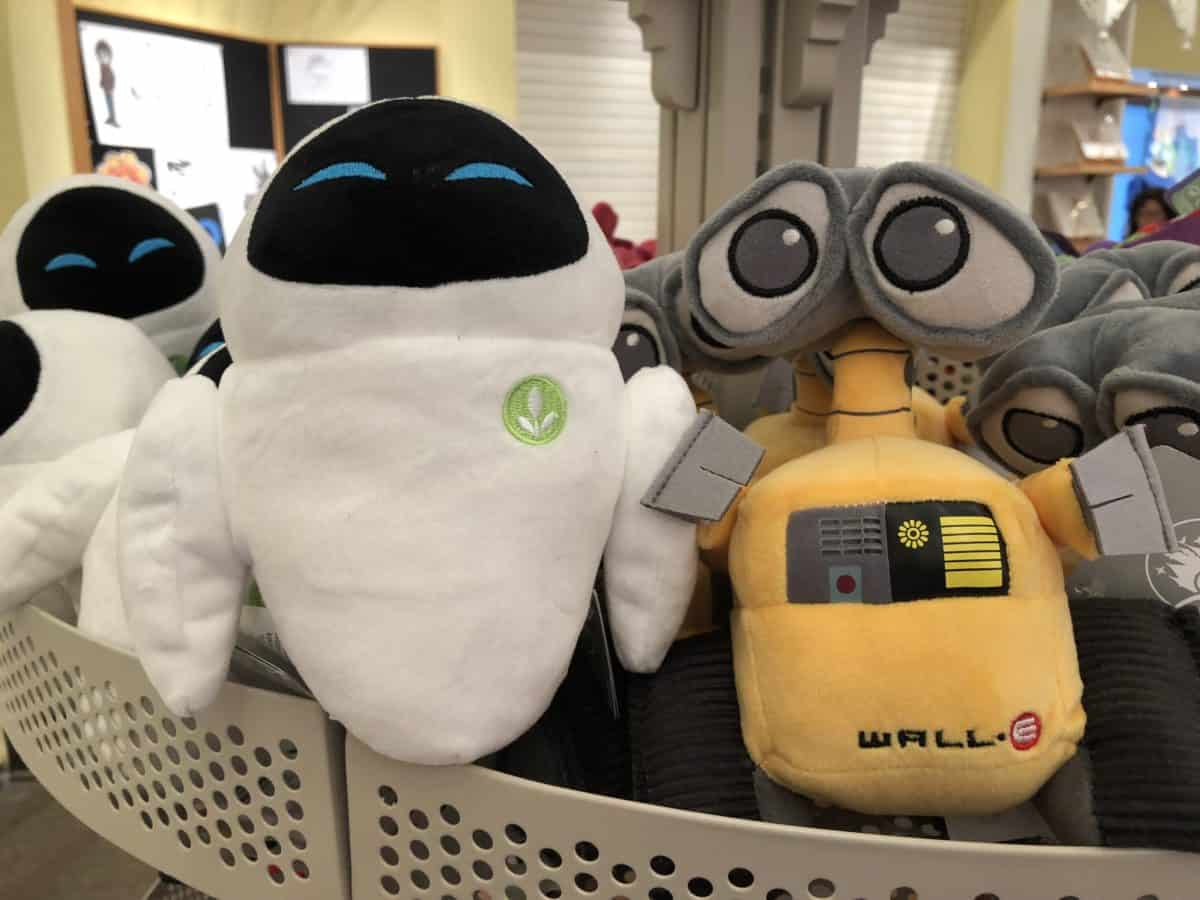Wall-E and EVE plushes sold at Knick's Knacks in Disney California Adventure (photo taken May 15, 2018)