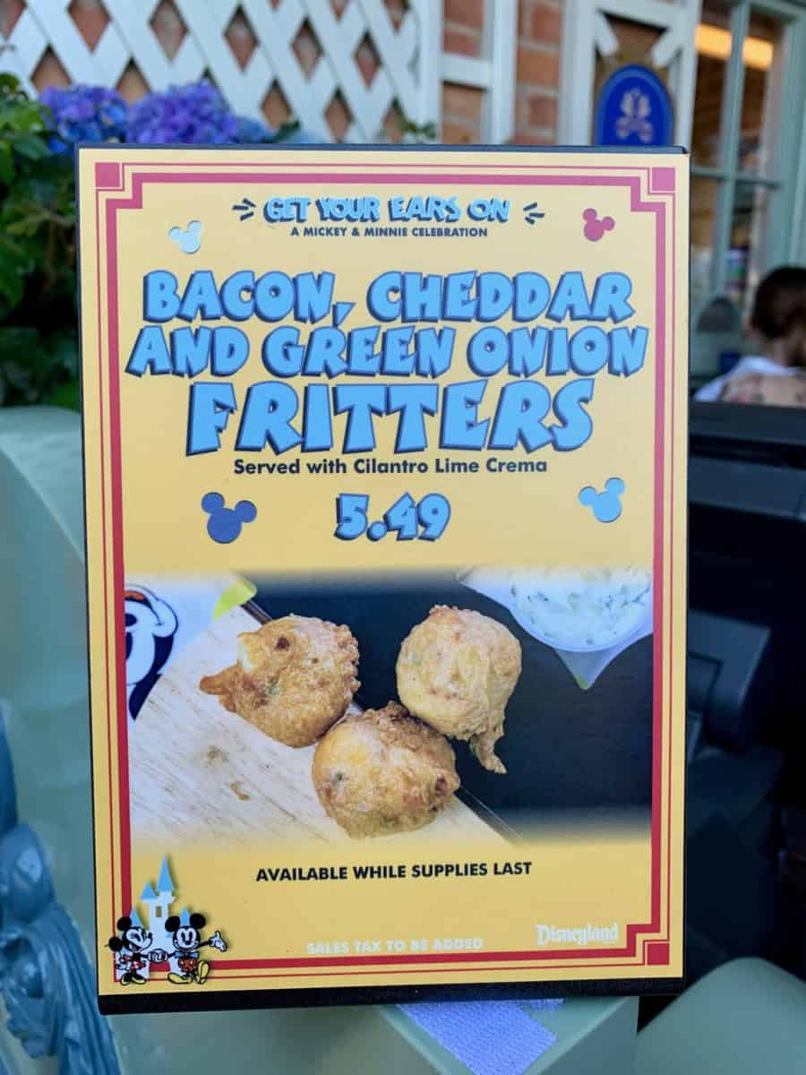 Bacon Cheddar and Green Onion Fritters Get Your Ears On Celebration Disneyland Park