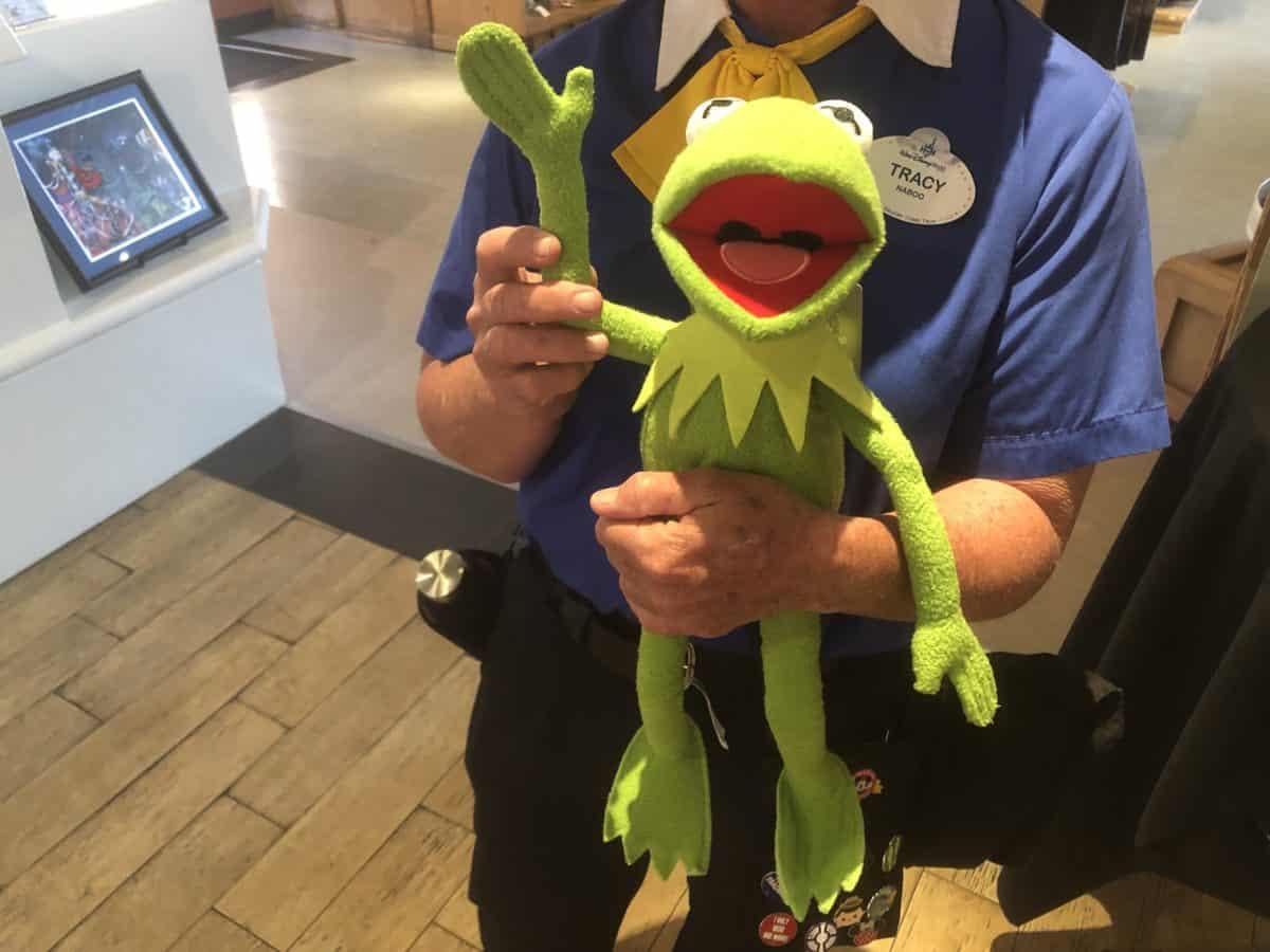 A cast member holding a Kermit plush
