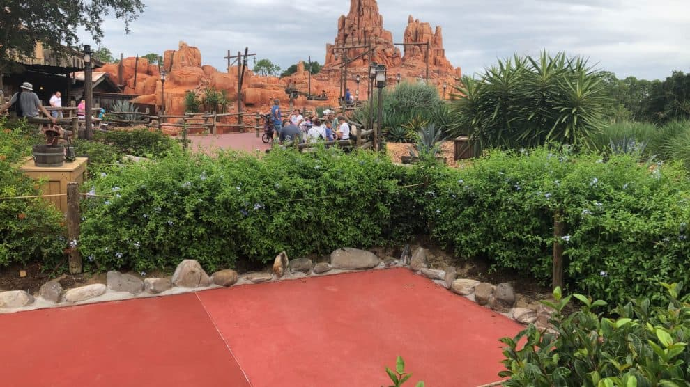 Big Thunder Mountain in the background from the dock's near River's of America