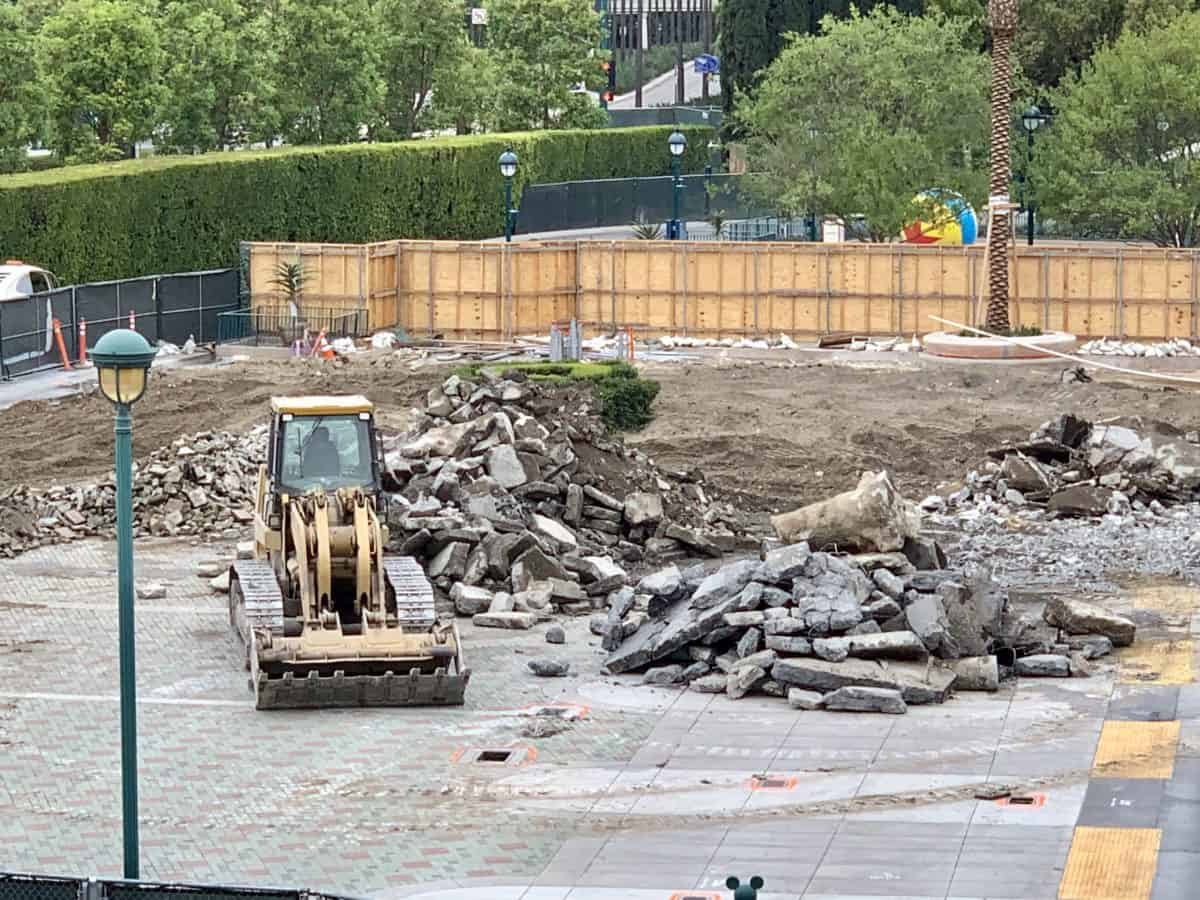 Tram Drop Off Demolition at Mickey and Friends and Pixar Pals Parking Structure Disneyland Resort
