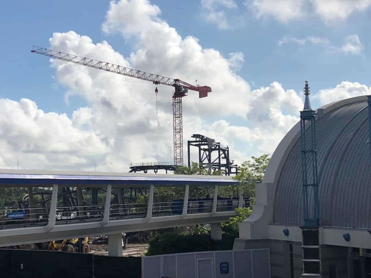 New track added on the taller support beams and visible over the people mover