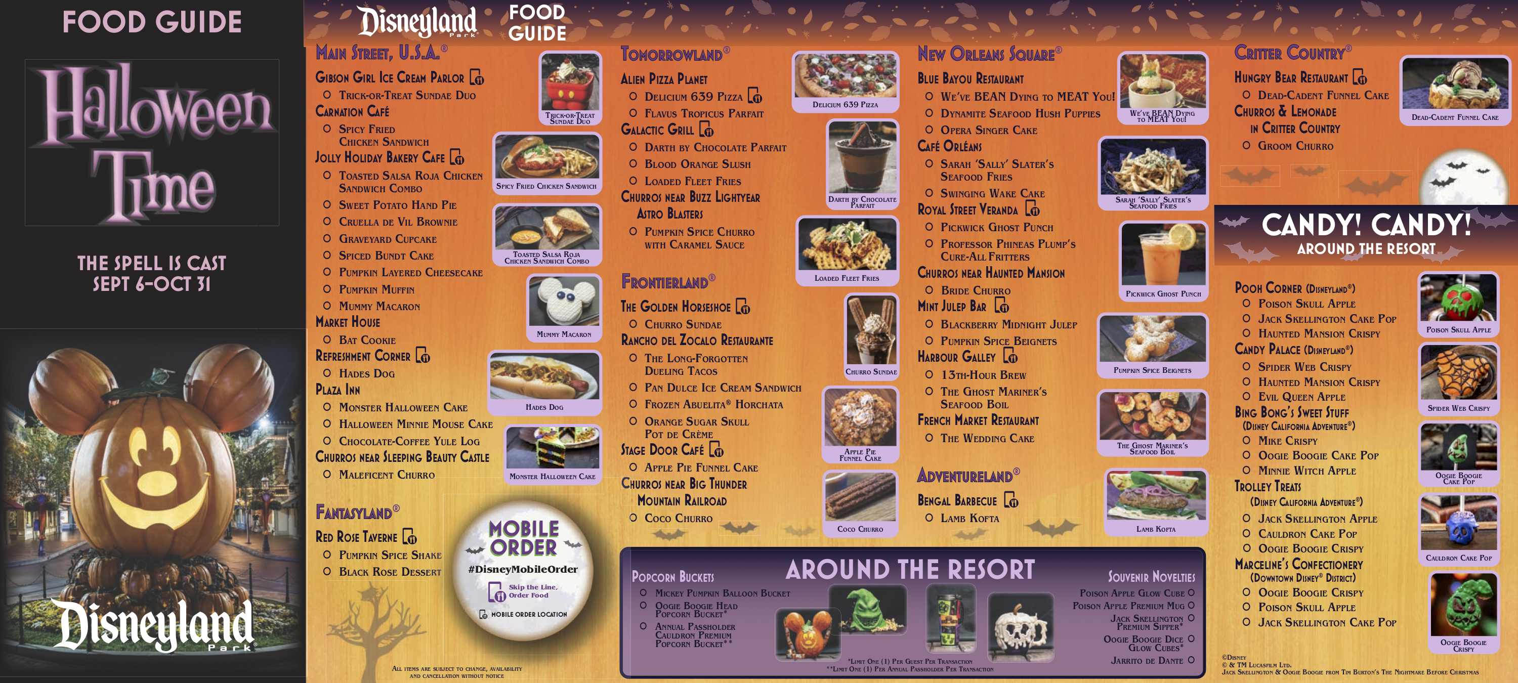 2020 Halloween Disneyland And California Adventure Foodie Map PHOTOS: New Halloween Time 2019 Food Guides Released for