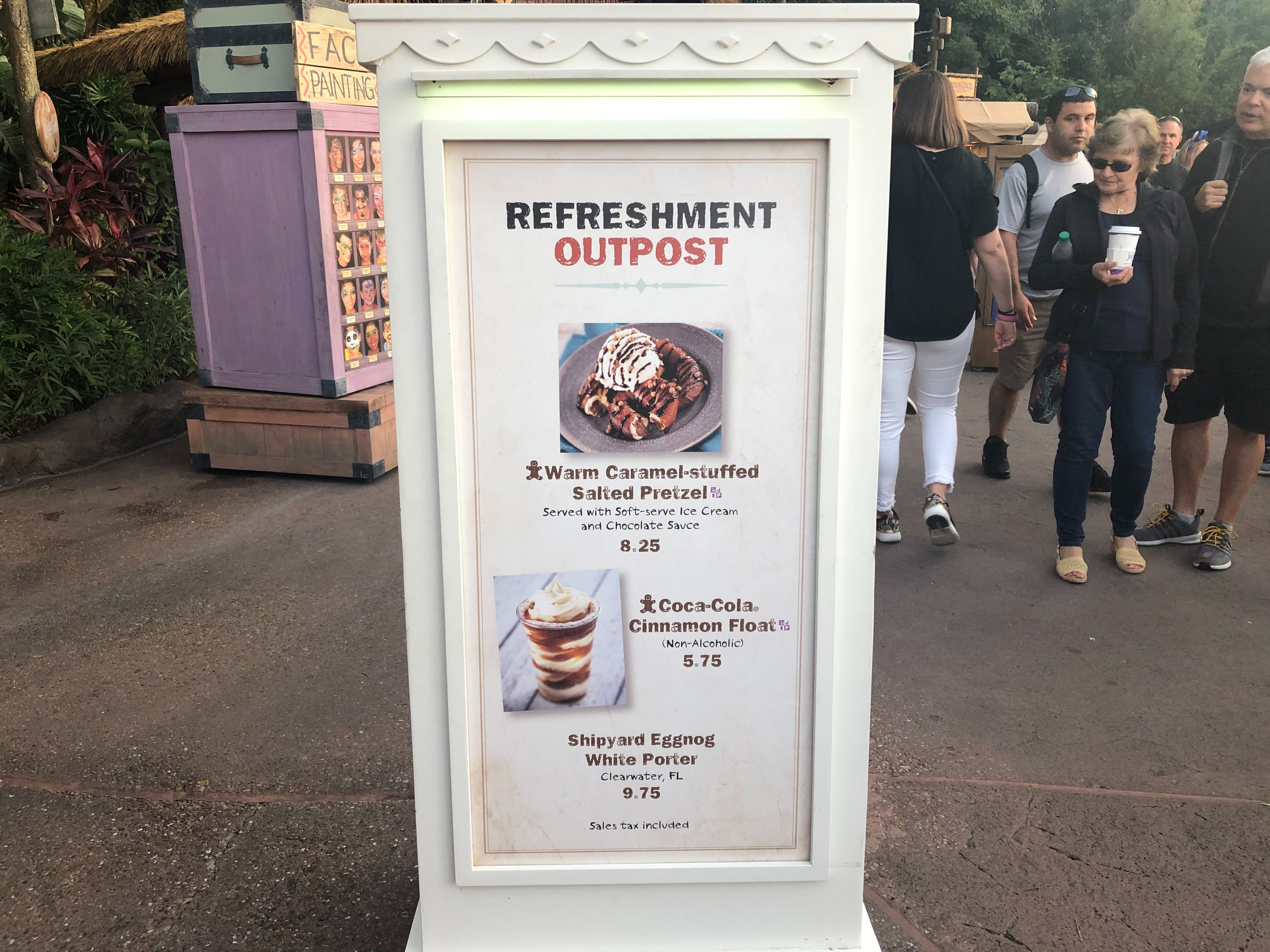 Menu for Refreshment Outpost at the EPCOT International Festival of the Holidays