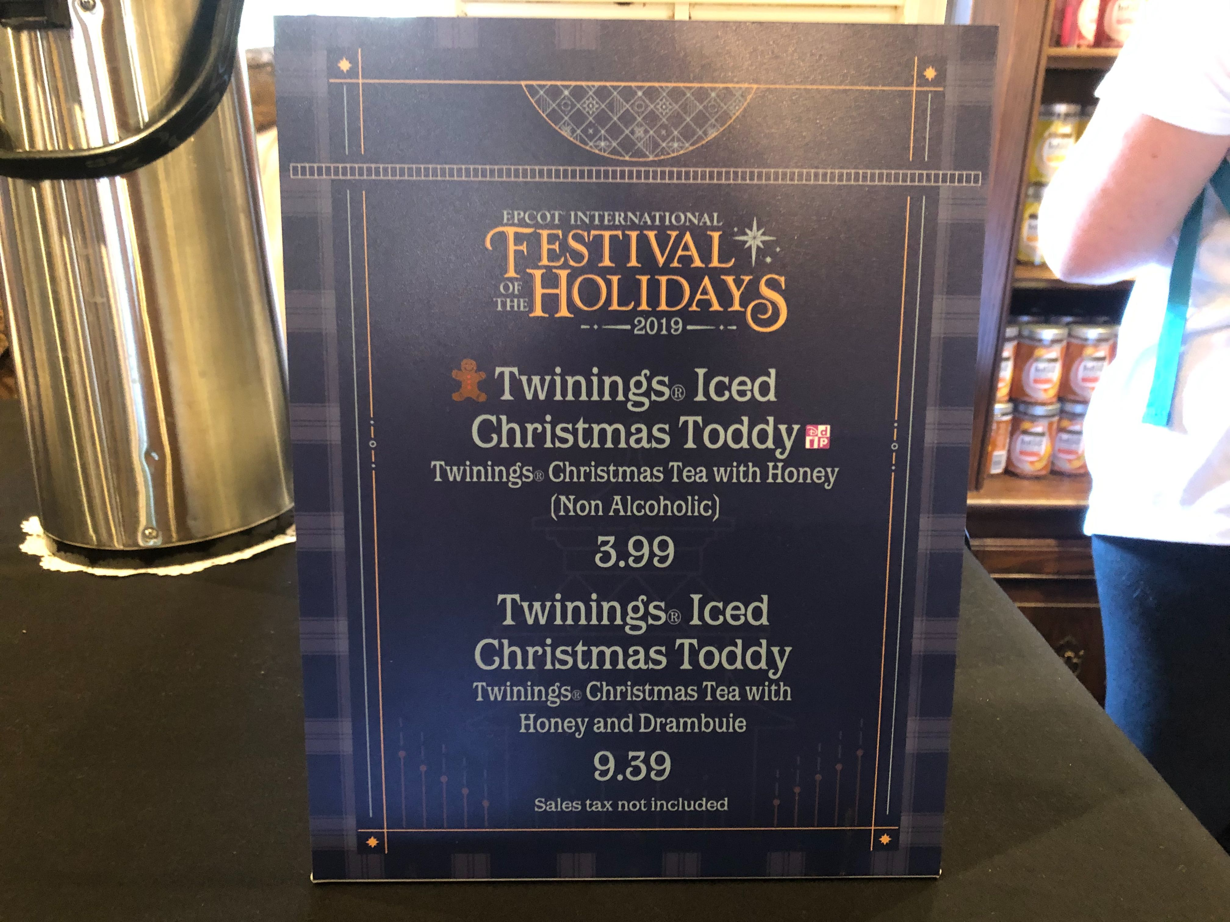 Menu for The Tea Caddy at the EPCOT International Festival of the Holidays