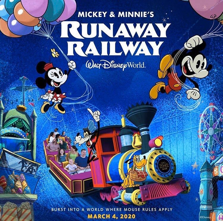 mickey and minnie's runaway railway carnival poster