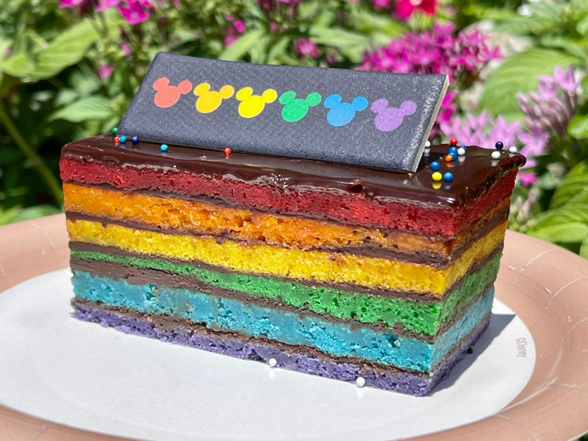 New Mickey Mouse Rainbow cake released at Kringla Bakeri Og Kafe in EPCOT at Walt Disney World in celebration of Pride month.