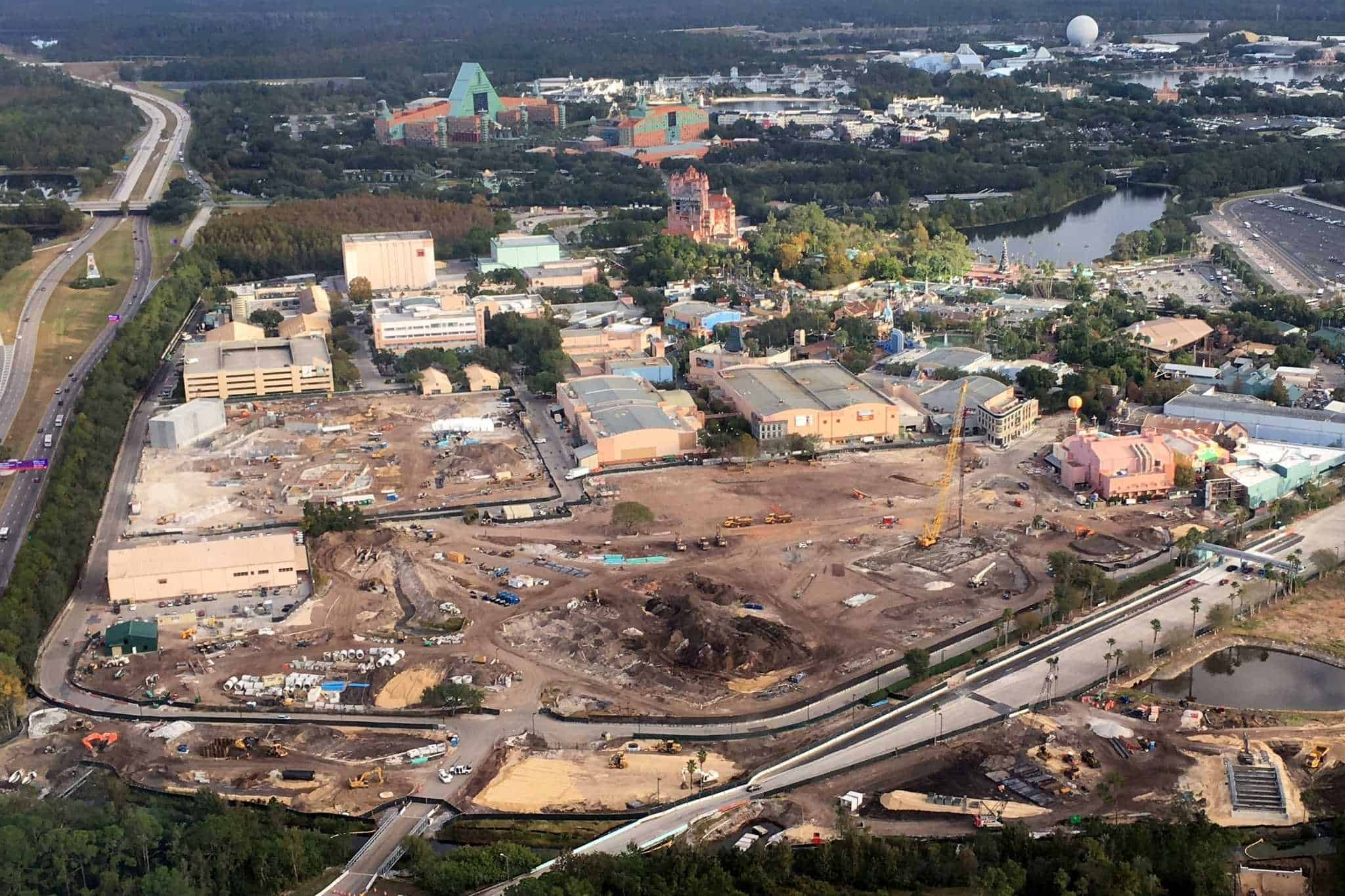 Aerial View of Construction at Hollywood Studios, Latest Progress on Toy Story & Star Wars Lands